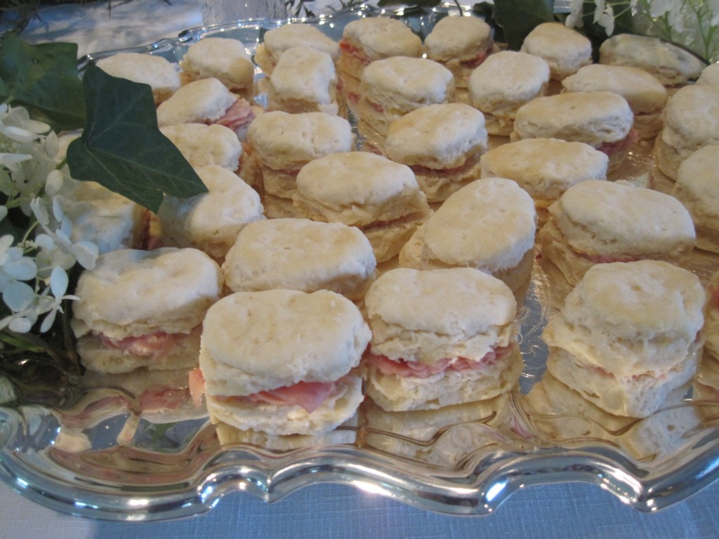 Mini ham biscuits with floral flourishes