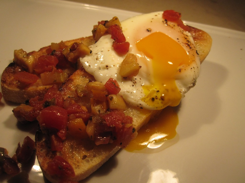 Fried eggs with vegetable hash