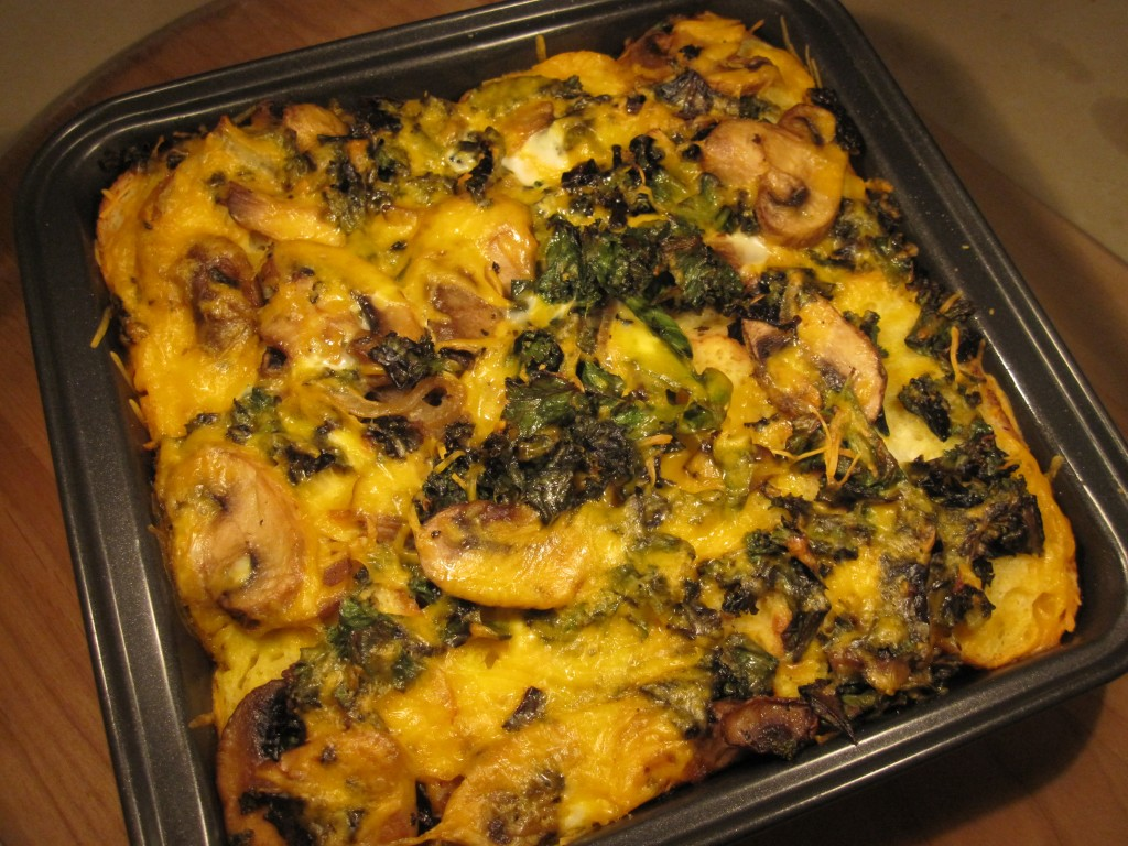 Kale, mushroom and cheese bread pudding