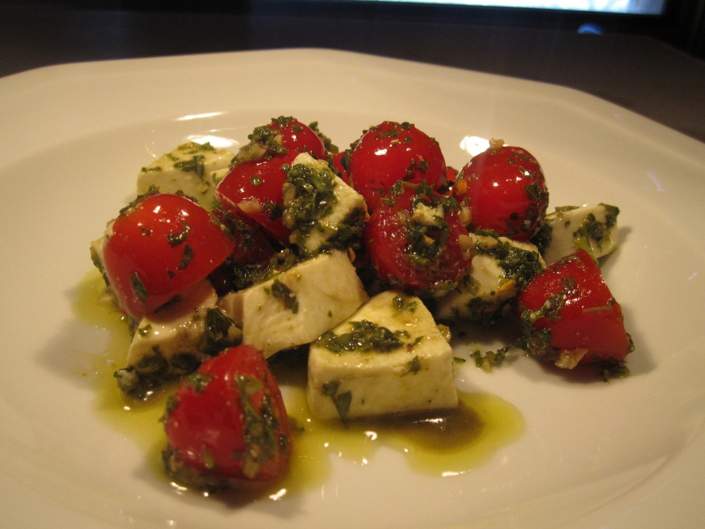 chimichurri tomatoes and mozzarella