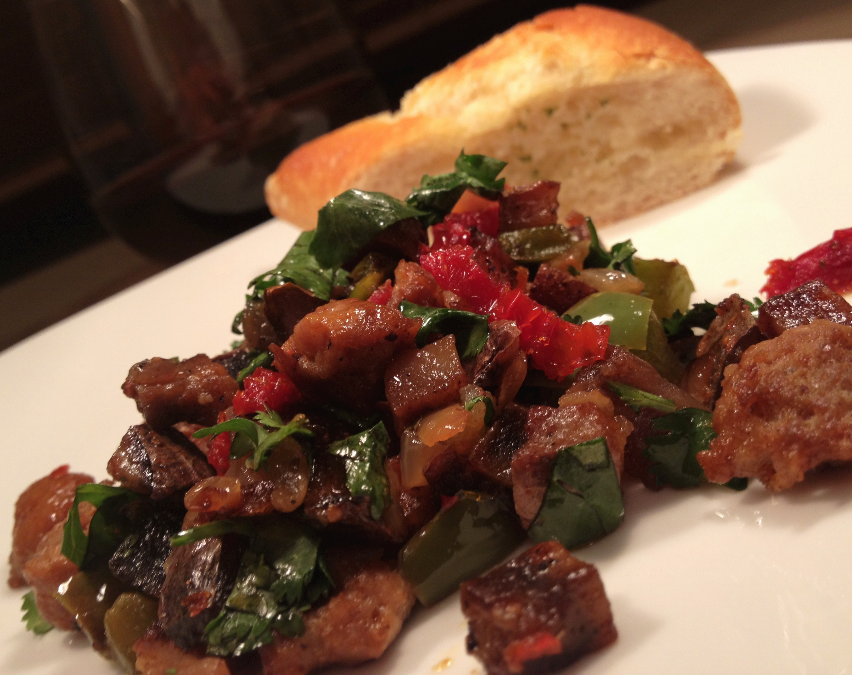 Sausage and blue potato hash