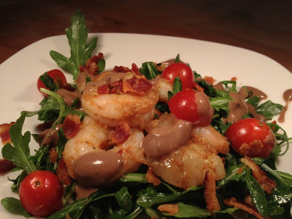 Arugula, bacon and shrimp salad