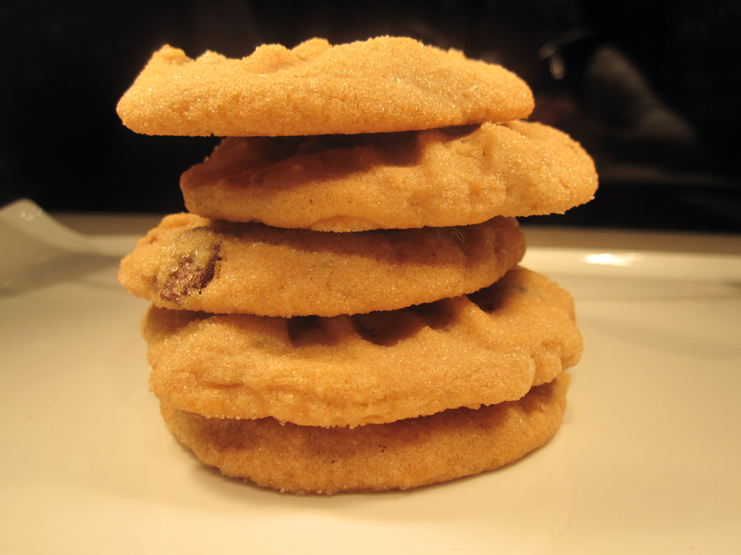 Peanut butter, dark chocolate chip and bacon cookies