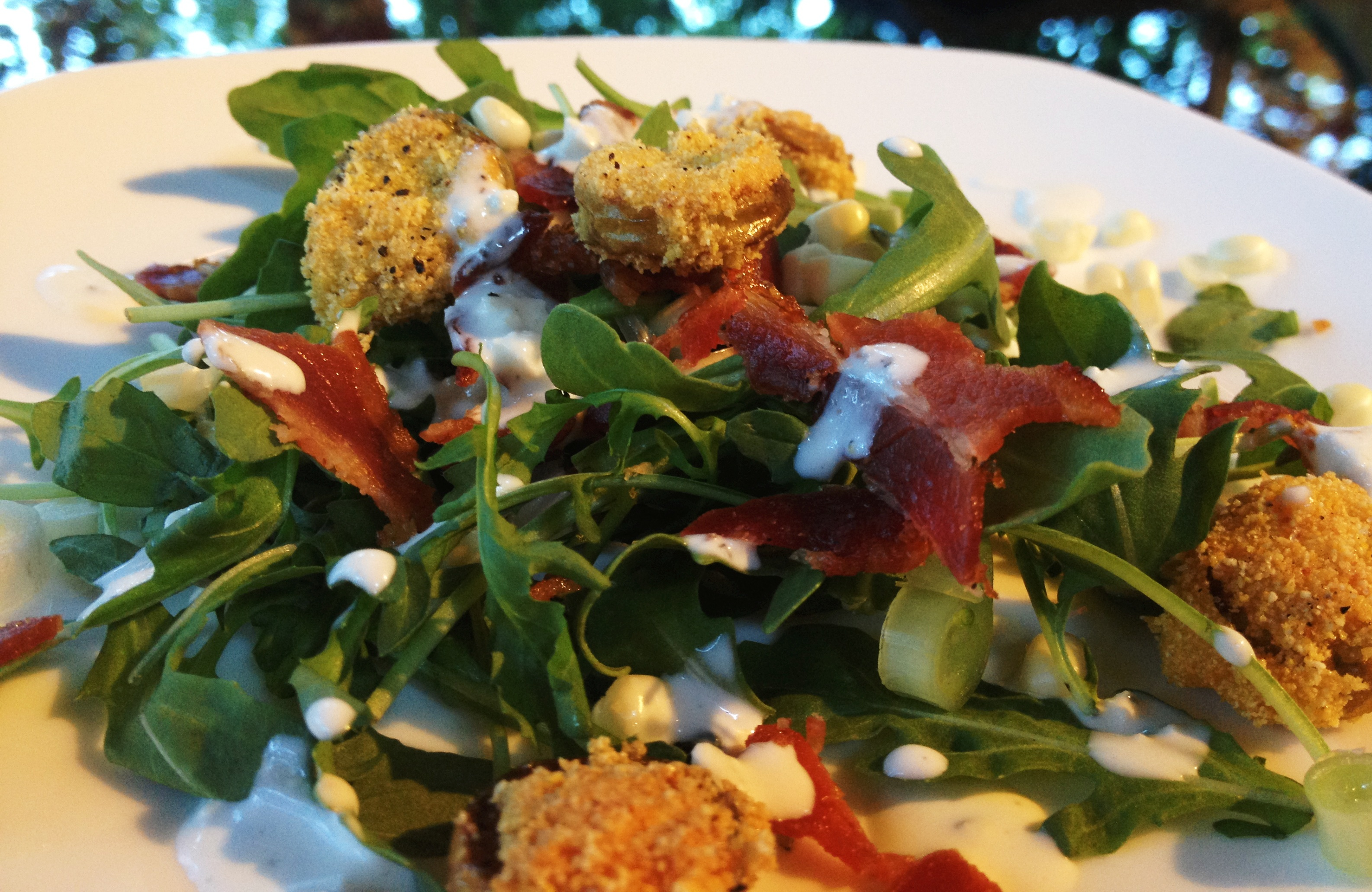 Arugula salad with crispy tomato croutons | the south in ...