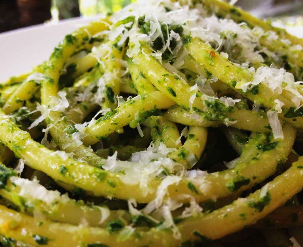 Pasta with arugula pesto and Parmesan cheese