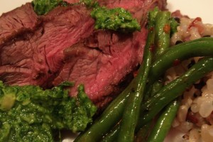 Flat iron steak with arugula pesto