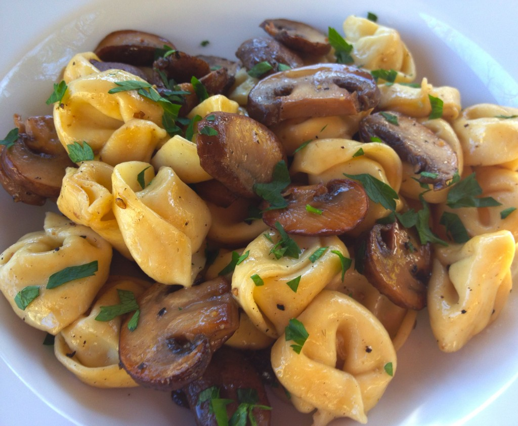 Tortellini with Mushrooms and White Wine Butter Sauce