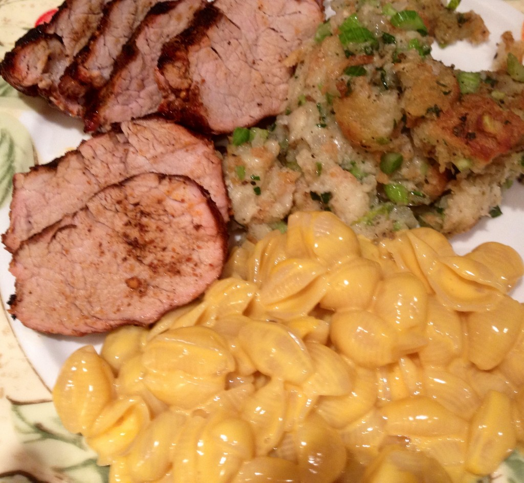Pork, Dressing, Mac and Cheese