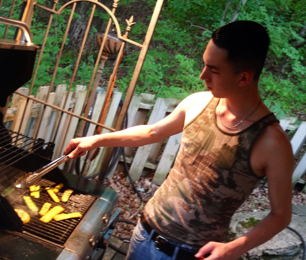 Noah's getting to be a grill master, too.