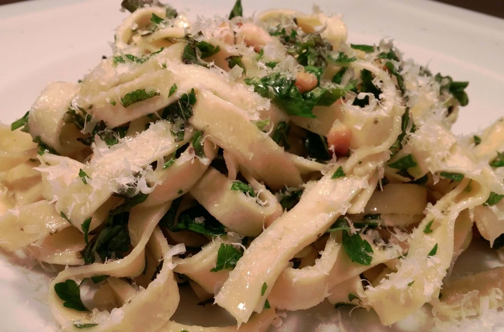 Fetuccine with Herbs and Pine Nuts