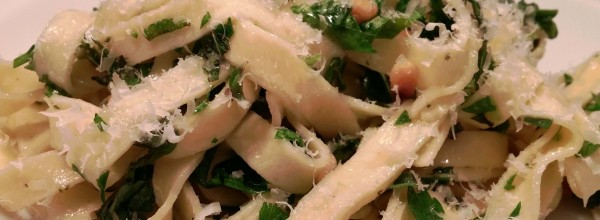 Fettuccine with herbs and pine nuts