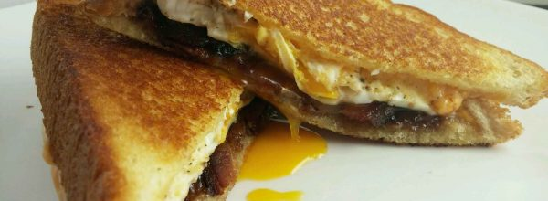 Bacon, egg, pimento cheese and jam sandwiches