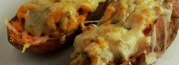 Twice baked sweet potatoes with sausage and leeks